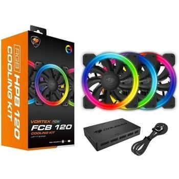 Вентилатори Cougar VORTEX RGB FCB 120 (CF-V12SET-FCBRGB), 4-pin, 1200 rpm, RGB подсветка, черни, 3 бр. image