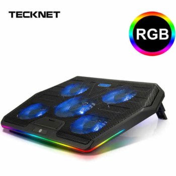 "Охлаждаща поставка за лаптоп TeckNet ECP01505LA01, за лаптопи до 17"" (43.18 cm), 2x USB, подсветка, черна image"