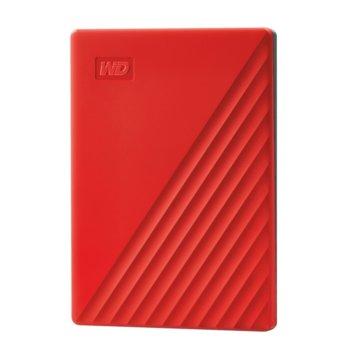 Твърд диск 2TB, Western Digital My Passport, червен, външен, USB 3.2 Gen 1 image