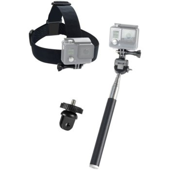 Аксесоари Speedlink Starter Kit за GoPro, селфи стик, адаптер за камера и челник, черни image