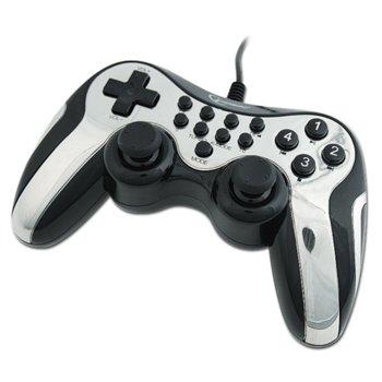 Геймпад Vibration Gamepad, гейминг, черен с бял кант, съвместим с PC/PS2/PS3 image