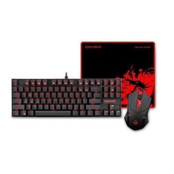 Комплект клавиатура, мишка и подложка Redragon Gaming Essentials 3 in 1 V2 (K552-BA-2), 3200 DPI, механична, USB, подсветка, черни image