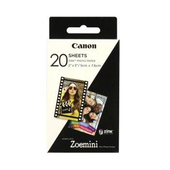 Фото хартия Canon ZINK, 5x7.6cm., за Canon Zoemini мобилен принтер, 20 листа image