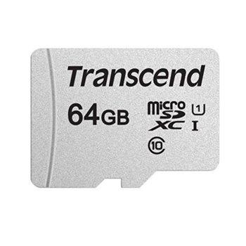 Карта памет 64GB microSDXC, Transcend 300S, Class 10 UHS-I, скорост на четене 95MB/s, скорост на запис 45MB/s image