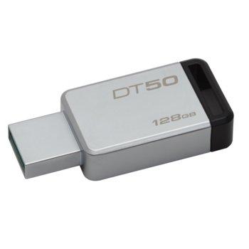 Памет 128GB USB Flash Drive, Kingston DataTraveler 50, USB 3.0, сребриста image