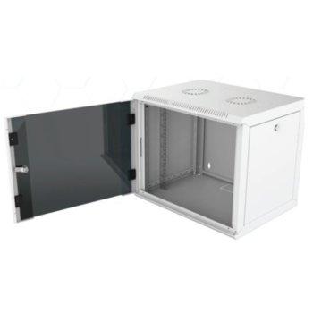 """Комуникационен шкаф Security Professionals MR.WTC09U45MN.02, 19"""", 9U, 565 x 450 x 445, стенен монтаж, товароносимост 80кг, отваряеми странични панели, стъклена врата, вентилационни отвори, сив image"""