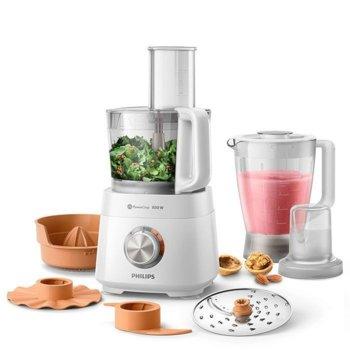 Кухненски робот Philips HR7520/00, 850W, 30 функции, 2 + импулсен режим настройки на скоростта, инструмент за месене, диск за емулгиране, мелачка, преса за цитруси, 2.1L купа, бял image