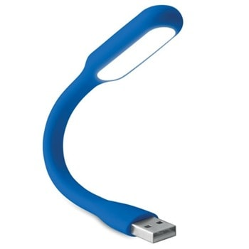 USB лампа More Than Gifts Kankei Blue, USB, LED, възможност за надписване и брандиране чрез тампонен печат, бяла image