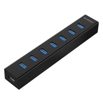 USB Хъб Orico H7013-U3-V1, 7x USB Type-A, USB 3.0, черен image