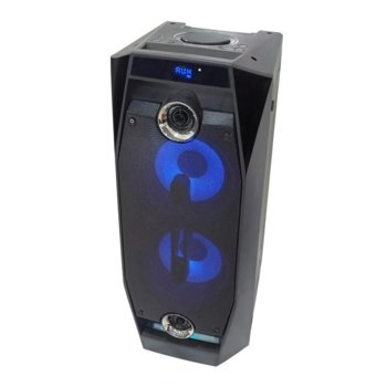 Аудио система Crown XKV-6088TW, 2.0, 350W, LCD дисплей, USB, Bluetooth, SD четец на карти, FM тунер, парти светлини, черна image