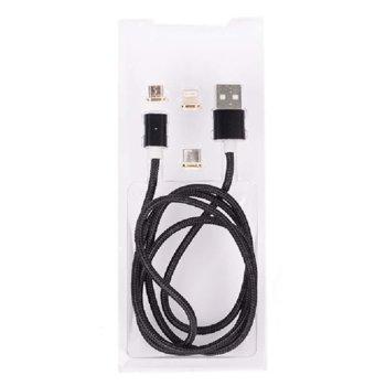 Кабел Royal 3 in 1 MAGNETIC Black, от USB Type A(м) към micro USB/lightning/ USB Type C(м) 1m, черен image