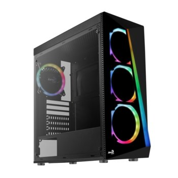 Кутия AeroCool Shard aRGB, ATX, mATX, MINI-ITX, 1 x USB3.0, Tempered Glass, черна, без захранване image