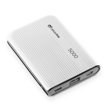 Външна батерия/power bank/ Cellularline PowerTank, 5000 mAh, бяла image