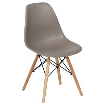 Трапезен стол Carmen 9957, крака от бук и метални подсилващи елементи, светло кафяв image