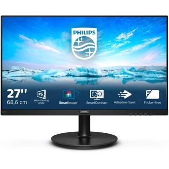"""Монитор Philips 272V8A/00, 27"""" (68.58 cm) IPS панел, 75 Hz, Full HD, 4 ms, 250 cd/m2, DisplayPort, HDMI, VGA, 1x 3.5 mm audio jack image"""