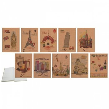 Тетрадка Spree Kraft Cities, формат А5, слонова кост хартия, 144 листа, шита image