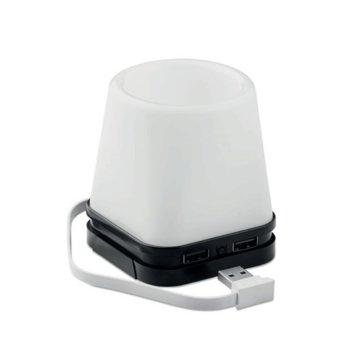 USB хъб Fuji, 4 порта, с лампа и моливник, черна основа image