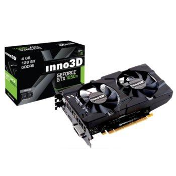 Видео карта GeForce GTX 1050 TI, 4GB, INNO3D GeForce GTX 1050 TI Twin X2(N105T-3DDV-M5CM), PCI-E 3.0, GDDR5, 128-bit, DisplayPort, HDMI, DVI, DisplayPort image