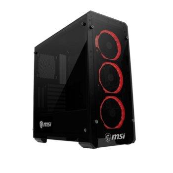Кутия MSI Mag Pylon, ATX/mATX/Mini-ITX, 2xUSB 3.0, RGB LED вентилатори, черна, без захранване image
