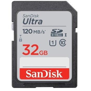 Карта памет 32GB SDXC, SanDisk Ultra (SDSDUN4-032-GN6IN), Class 10, скорост на четене 120MB/s image