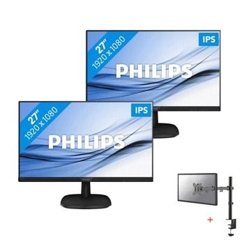 """Два монитора Philips 273V7QDAB в комплект със стойка за монитор/телевизор NewStar FPMA-D550DBLACK, 27""""(68.58 см) IPS панел, FullHD, 5ms, 200000000:1, 250 cd/m2, HDMI, DVI, VGA image"""