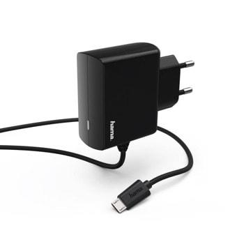 Зарядно устройство Hama 183247, от контакт към 1x MicroUSB, 2.45A/12W, черно image