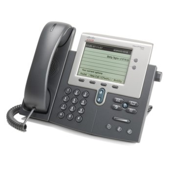 "VoIP телефон Cisco 7942G, 5.0""(12.70 cm) монохромен дисплей, 2 линии, PoE, черен image"
