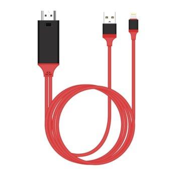 Кабел Earldom ET-W5, от Lightning към HDMI и USB, 2.0m, червен image