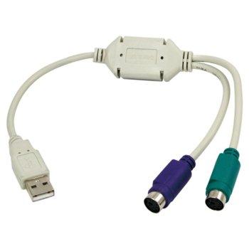 Конвертор LogiLink AU0004A, USB(м) към 2xPS2(ж), бял image