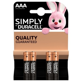 Батерия алкална, DURACELL Simply, AAA, LR03, 1.5V, 4 бр image