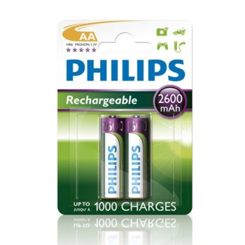 Батерии 2x Philips Rechargeable AA, 2600mAh, 1.2V image