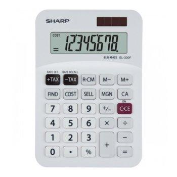 Калкулатор SHARP EL-330F, 8 разряден дисплей, бял image