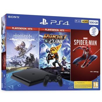 Конзола PlayStation 4 Slim в комплект с 3 игри (Marvel's Spider-Man + Horizon Zero Dawn + Ratchet & Clank), 500GB, черен image