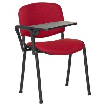 Посетителски стол Carmen 1140 LUX, метални крака, полипропиленова масичка за писане, дамаска, червено-черен image