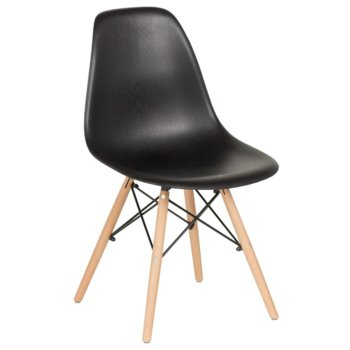 Трапезен стол Carmen 9956 D, полипропилен, дървена база, черен image