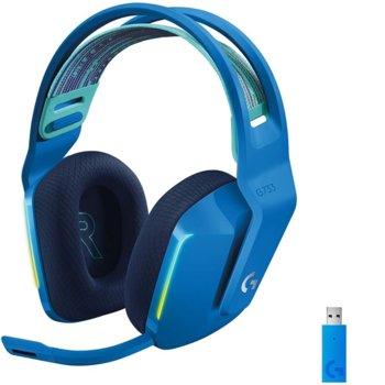 Слушалки Logitech G733 (981-000943), безжични, микрофон, 40mm говорители, 20 Hz - 20 kHz, сини image