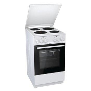 Готварска печка Gorenje E5121WH, 68 л. обем на фурната, 4 нагревателни зони, компактна врата с двойно стъкло, бял image