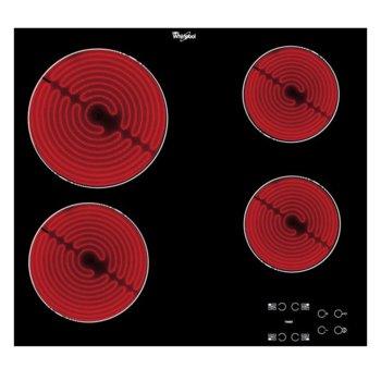 Стъклокерамичен плот за вграждане Whirlpool AKT8090/NE, 6200W, 4 нагревателни зони, сензорно управление, защита от деца, черен image