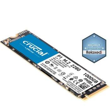 Памет SSD 1TB Crucial P1, NVMe, M.2 (2280), скорост на четене 2000 MB/s, скорост на запис 1700 MB/s image