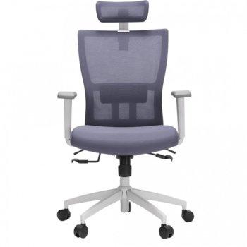 Работен стол Vaseat Olimp, пластмасови подлакътници, седалка от мемори пяна, облегалка за глава, газов амортисьор, коригиране на височината, сив image