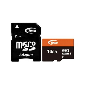 Карта памет 16GB MicroSDHC с адаптер, Team Group, Class 10 UHS-I, скорост на четене 80 MB/s, скорост на запис от 15 MB/s image