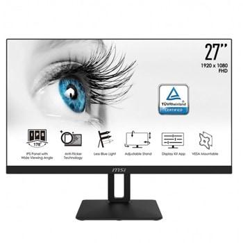 """Монитор MSI PRO MP271P, 27"""" (68.58 cm) IPS панел, 75Hz, Full HD, 5ms, 1000:1, 250cd/m2, HDMI, VGA image"""