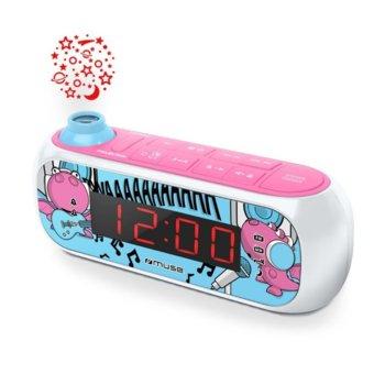 Радиочасовник Muse M-167 KDG, LCD дисплей, дойна аларма, с прожекция, шарен image