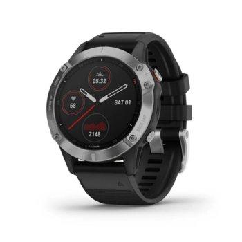 Смарт часовник Garmin fēnix 6, 33.2 мм диаметър на дисплея, 32GB памет, водоустойчив(10 ATM),черен с черна каишка image