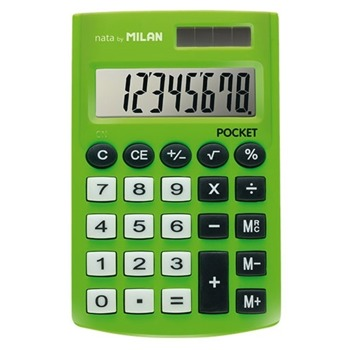 Калкулатор Milan Pocket, 8 разряден дисплей, джобен, 3 memory бутона и функция корен квадратен, автоматично изключване, зелен image