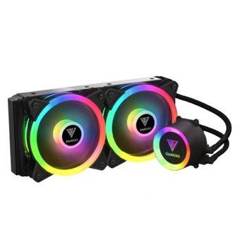Водно охлаждане за процесор Gamdias CHIONE M2-240 LITE, съвместимост със сокети LGA 775/1366/2066/2011-3/2011-0/1156/1155/1151/1150/1200 & AMD FM1/FM2/FM2+/AM2/AM2+/AM3/AM3+/AM4, RGB подсветка image