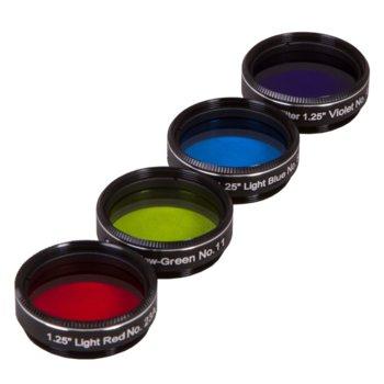 Комплект филтри за телескоп Explore Scientific N3, включва светлосин/виолетов/светлочервен/жълтозелен филтър, 1.25mm диаметър на цилиндъра, анти-рефлективни image