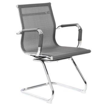 Посетителски стол Carmen 8802, хромирана база, до 100kg, сив image