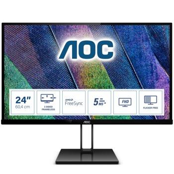 """Монитор AOC 24V2Q, 23.8""""(60.45 cm) IPS панел, Full HD, 5ms, 20M:1, 250 cd/m2, HDMI, DisplayPort image"""