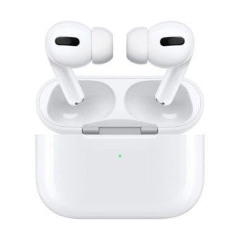Слушалки Apple AirPods Pro, безжични, микрофон, сензорни бутон, с включено безжично зарядно, бели image